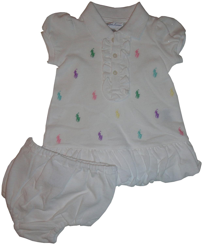 RALPH LAUREN Infant Girls Polo 2 Piece Dress Set White with Multiple Ponys