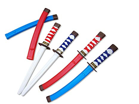 6230f5657f Dazzling Toys Plastic Samurai 17 Inch Swords with Cloth Wrapped Handles 12  Pack Comes in Red and Blue Color