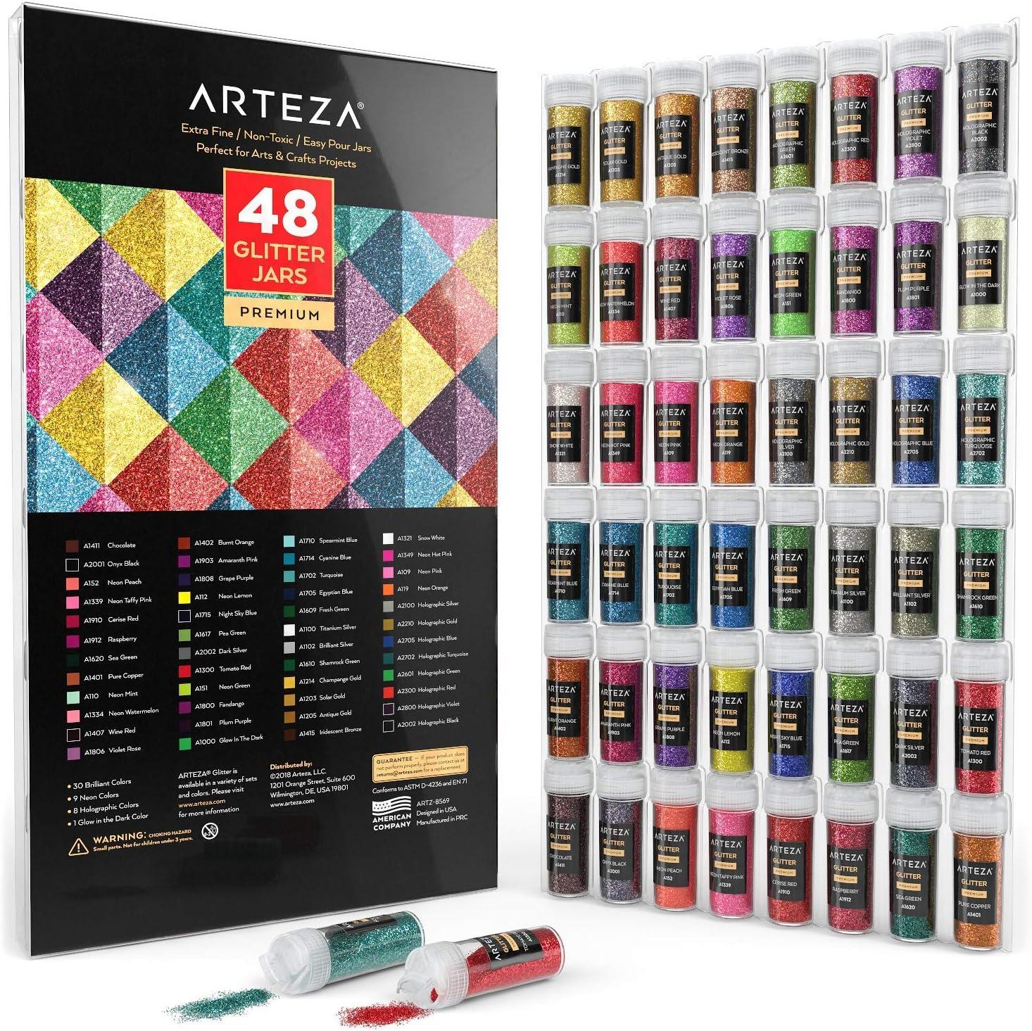 ARTEZA Glitter fino set 48 colores brilla en luz UV (9.6 g)