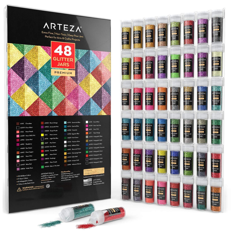 ARTEZA Fine Glitter, Set of 48 Colors, Shaker Jars (0.34oz/9.6 g) Glow Under UV Black Light, Extra Fine, All Purpose for Body, Face, Slime, Crafts by ARTEZA (Image #4)