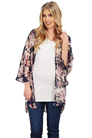 d8278a9cc97ca Image Unavailable. Image not available for. Color: PinkBlush Maternity Navy  Floral Chiffon Bell Sleeve Kimono ...