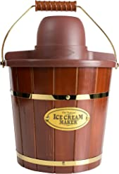 Nostalgia ICMW400 4 Quart Wood Bucket Ice Cream Maker with Easy Carry Handle, Dark Brown