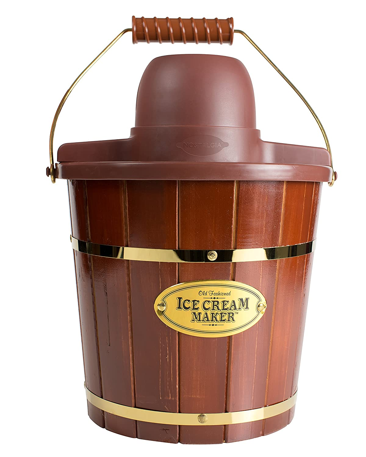 Nostalgia ICMW400 4 quart Wood Bucket Ice Cream Maker with Easy Carry Handle Dark Brown