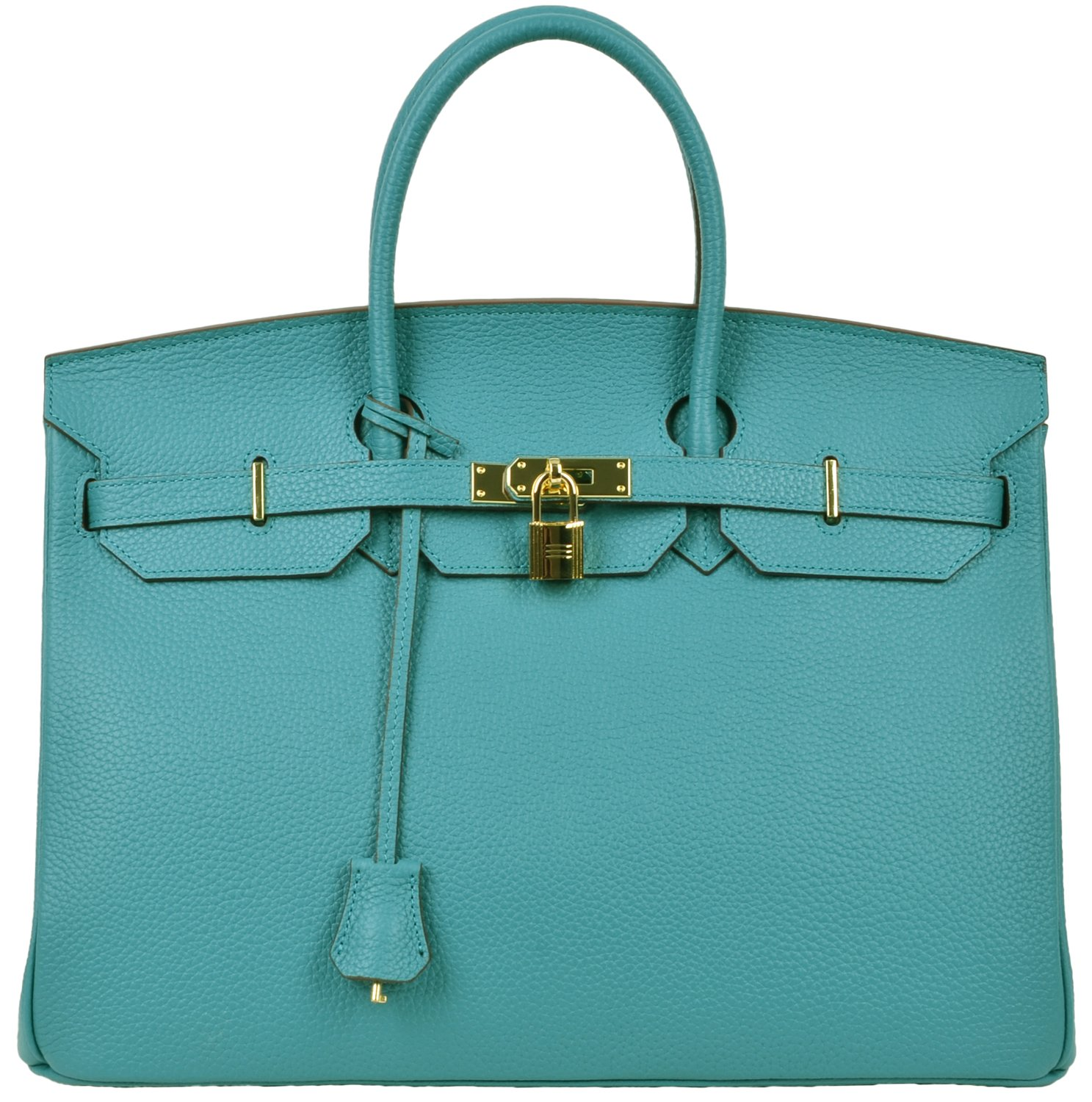 Cherish Kiss 40cm Oversized Padlock Business Office Top Handle Handbags (40cm with Gold Hardware, Peacock Blue)
