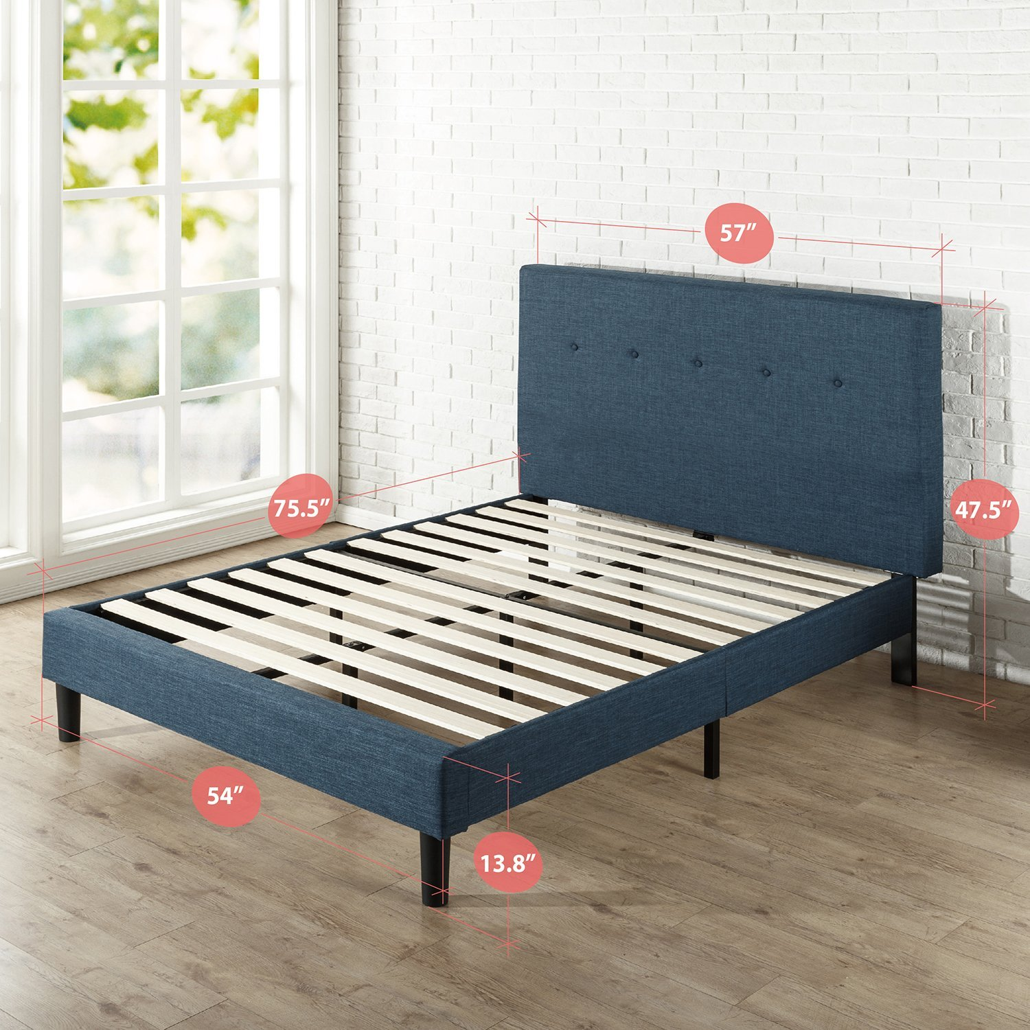 Zinus Omkaram Upholstered Navy Button Detailed Platform Bed / Mattress Foundation / Easy Assembly / Strong Wood Slat Support, Full by Zinus (Image #2)