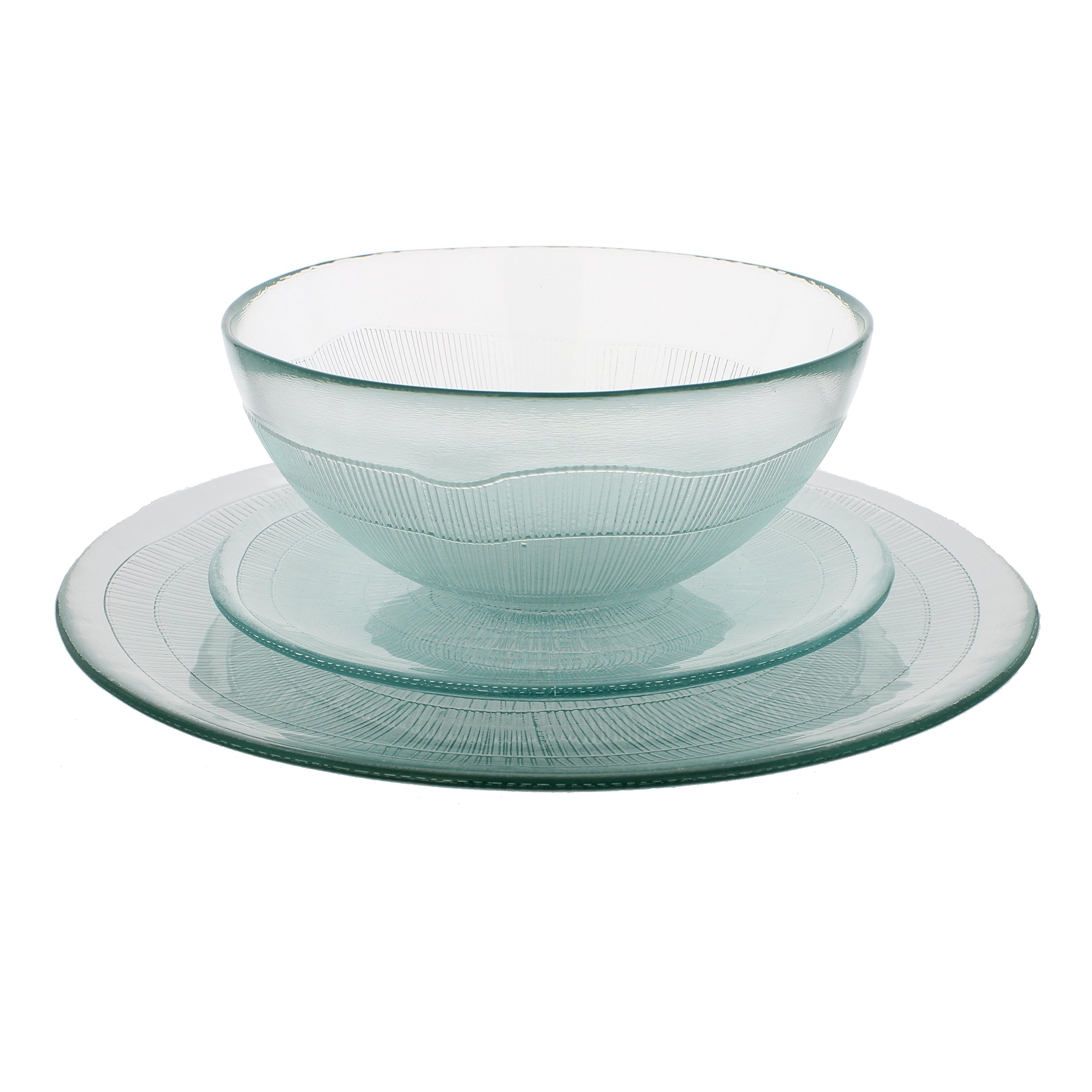 French Home Recycled Glass Ice Dinner Set, Clear