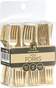 Disposable Plastic Gold Mini Forks, Gold Plastic Tasting Fork, (4 inch 72 Count) Mini Gold Plastic Forks for Appetizers, Great for Desserts, Sampling, or Cocktails - Posh Setting
