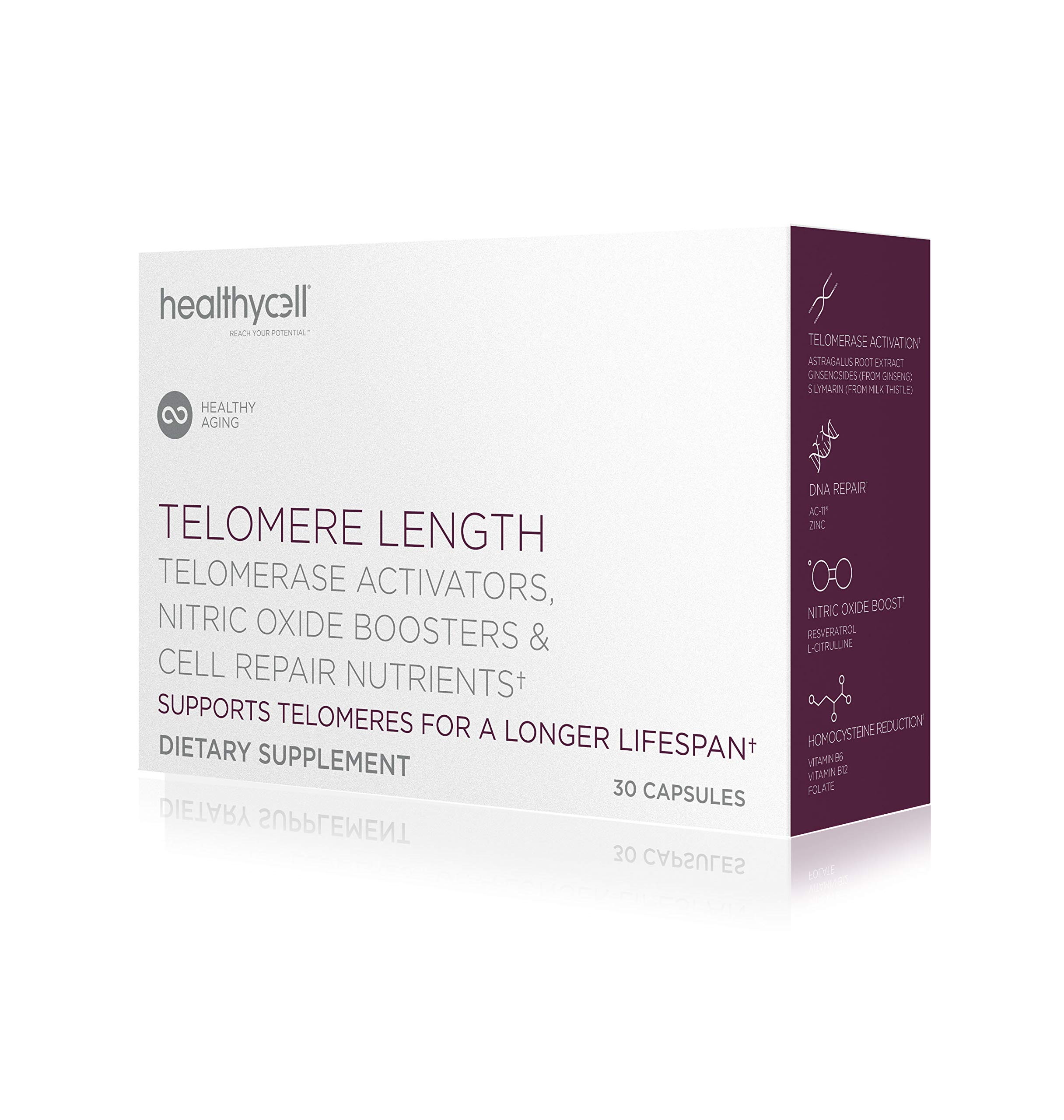 Healthycell Telomere Length | Supplement for Lengthening Telomeres and DNA Repair, Anti Aging, Cell Health, Stem Cell Support | Clinically Proven Ingredient AC11® | 578 mg Capsules