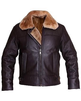 1649eeeb0 B3 Ginger Brown Bomber Aviator Real Shearling Sheepskin Leather ...