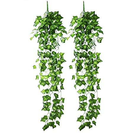 Christmas Vines.Blulu Artificial Ivy Hanging Vine Plant Leaves Garland For Christmas Wedding Party Garden Wall Decoration 2 Pack