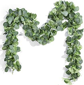 Miracliy 2 Pack Seeded Eucalyptus Garland, 13ft Faux Eucalyptus Leaves Greenery Vine for Wedding Backdrop Mantel Table Centerpiece Party Home Decor