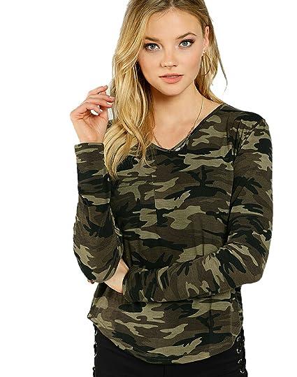 e2107e6cbb4f49 Vitans Women Camo Print V Neck Pocket Front T-shirt (Olive Green ...