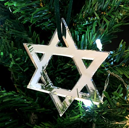 Star Of David Mirrored Christmas Tree Decorations   Pack Of 10