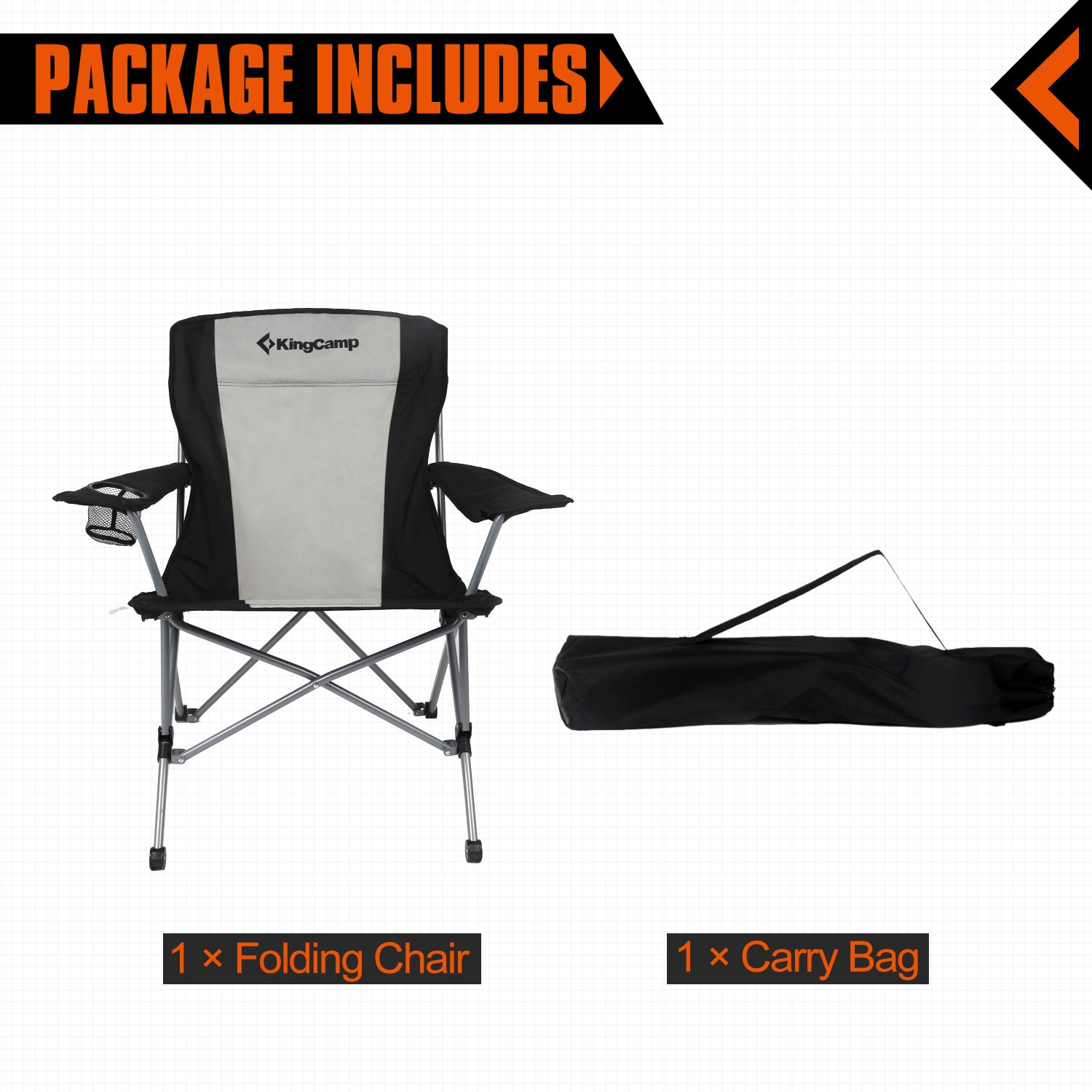 amazon com kingcamp heavy duty folding arm chair with comfotable