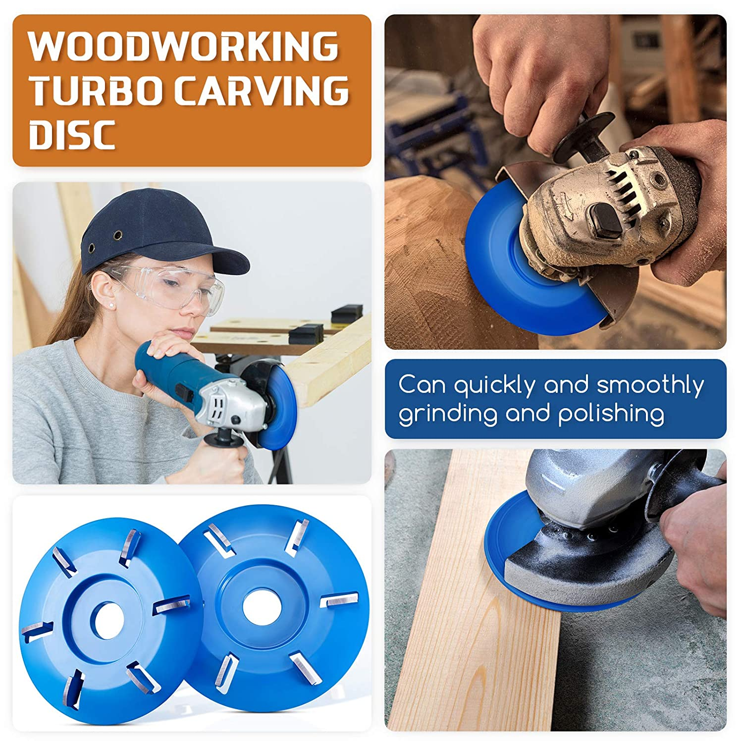 2 Pieces 6 Teeth Wood Carving Disc Tool Arc Teeth Milling Cutters Attachment Woodworking Turbo Carving Disc for 16mm Aperture Angle Grinder Blue