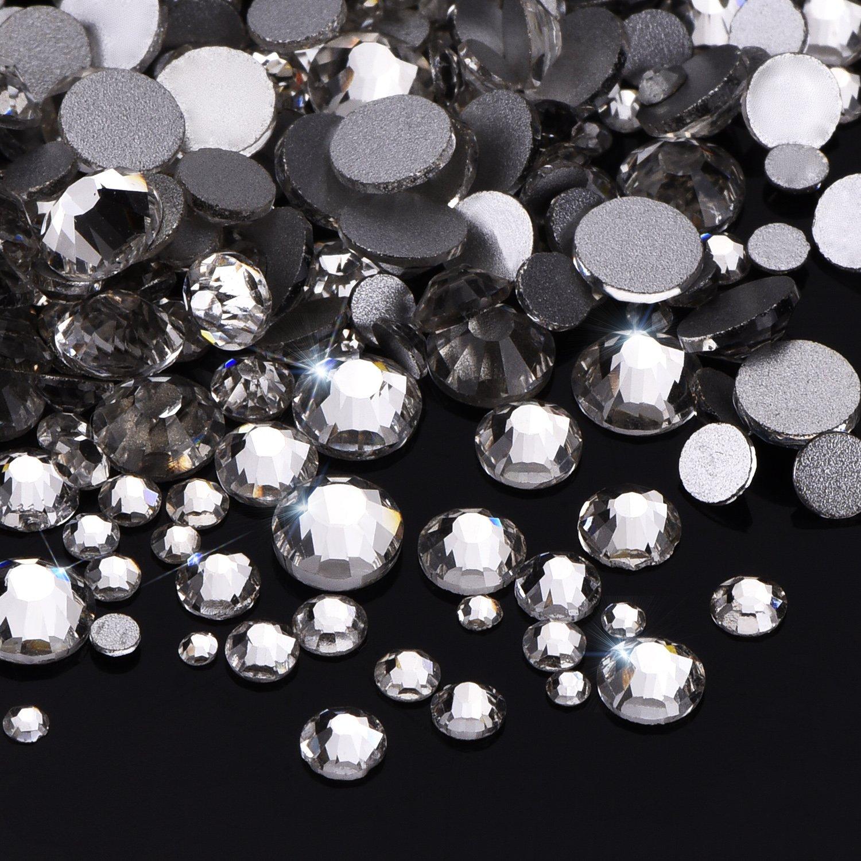5 mm 1000 Piezas Diamantes de Cristal de Espalda Plano Transparente Gemas de Cristal Redondas 1.5 mm 5 Tama/ños