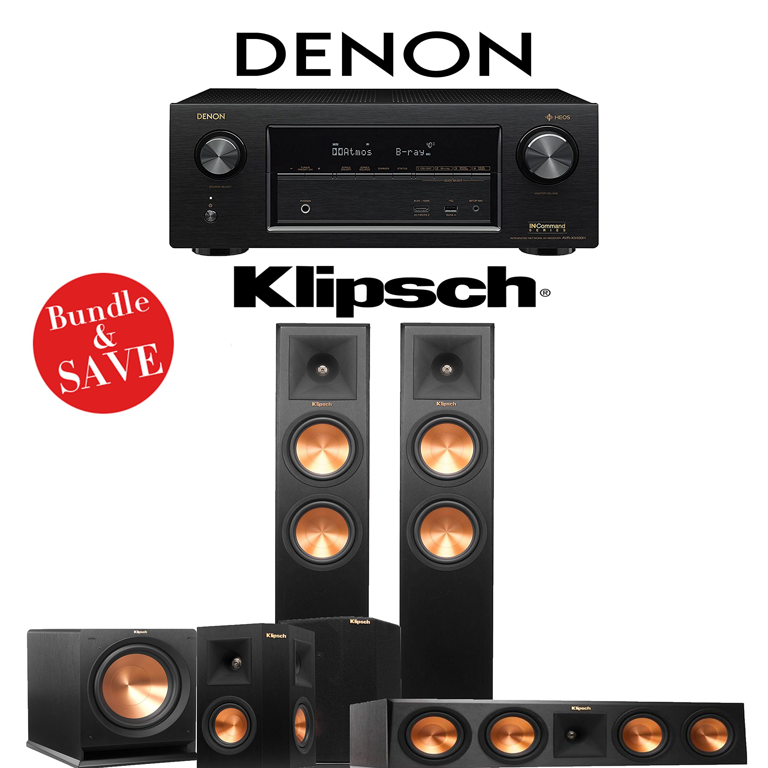Klipsch RP-260F 5.1-Ch Reference Premiere Home Theater System with Denon AVR-X3400H 7.2-Channel 4K Network AV Receiver