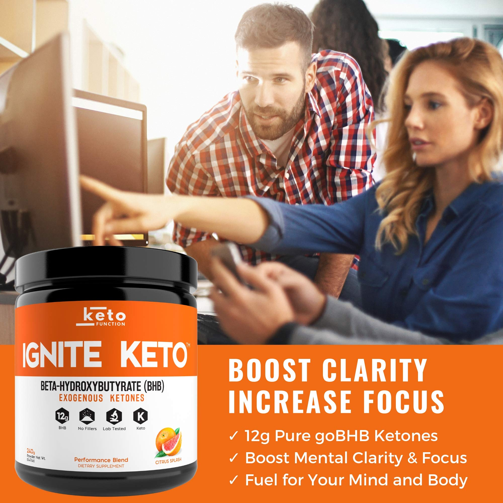 IGNITE KETO Drink - Instant Exogenous Ketones Supplement - 12g Pure BHB Salts - Fuel Ketosis, Energy, and Focus - Best goBHB Ketone Drink Powder Mix - Perfect for Low Carb Keto Diet by Keto Function (Image #4)