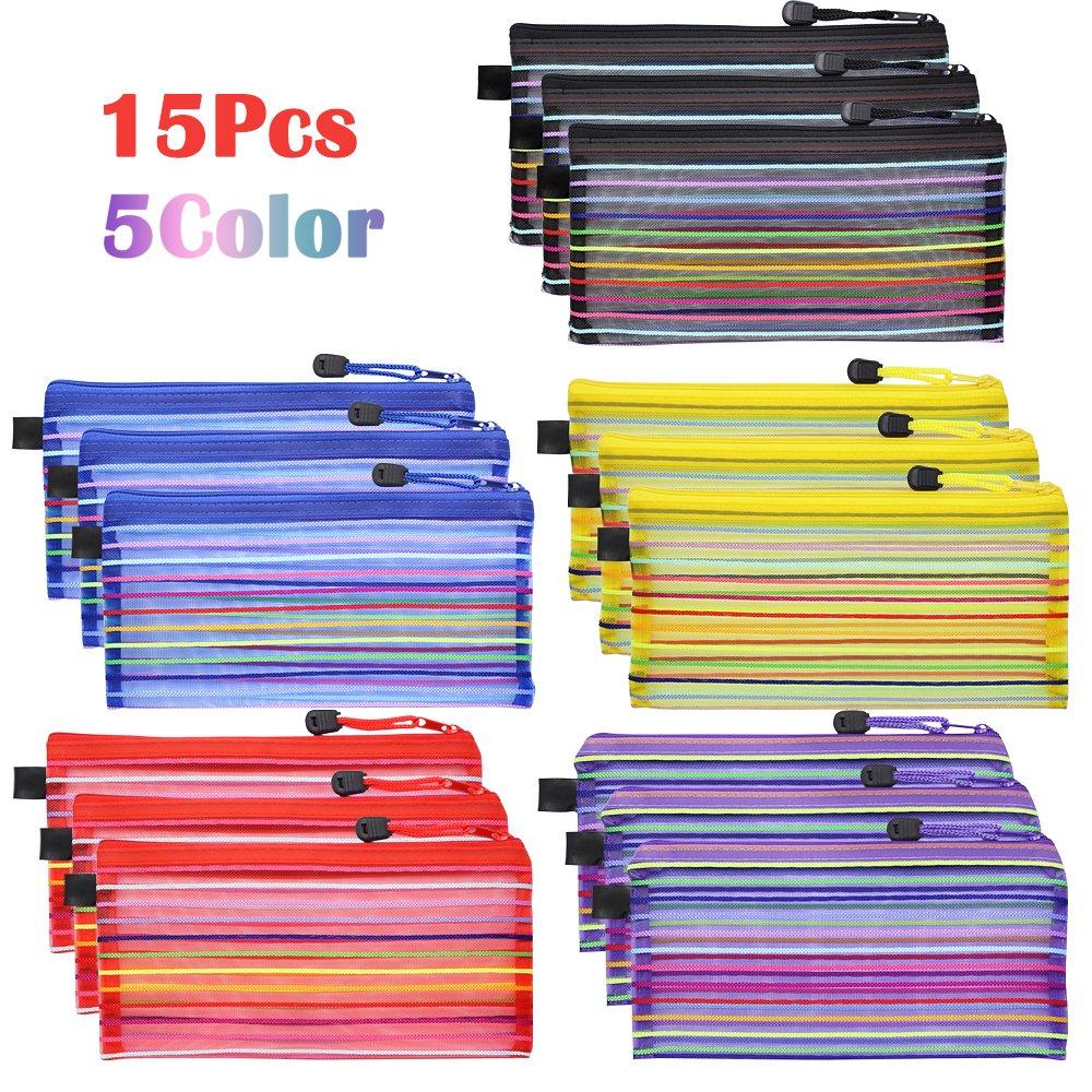 multiusos para coleccionar suministros de oficina y maquillaje bolsa organizadora para cosm/éticos de viaje 5 colores 15 bolsas de malla con cremallera Meetory