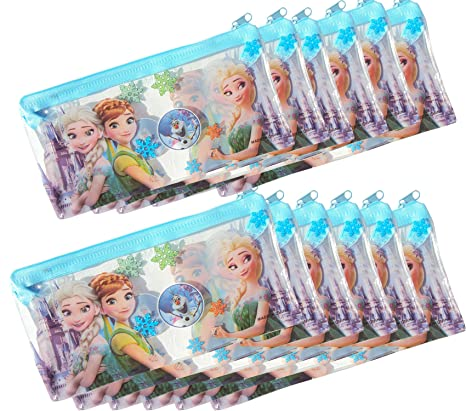 Asera 12 Pcs Frozen Kids Plastic Pouch Small Size For Birthday