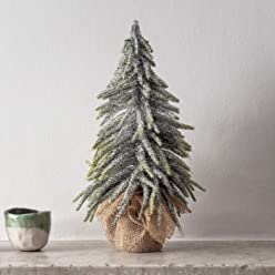 Silver Glitter Christmas Tree Table Decoration Brush Look Indoor 30cm Lights4fun