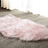 Basic Beyond Fur Area Rug - Fuzzy Soft Sheepskin Kids Carpet Chair Cover with Super Fluffy Thick Decorativeas Throw Faux Rug in Bedroom, Living Room (Pink 2ft x 3ft)