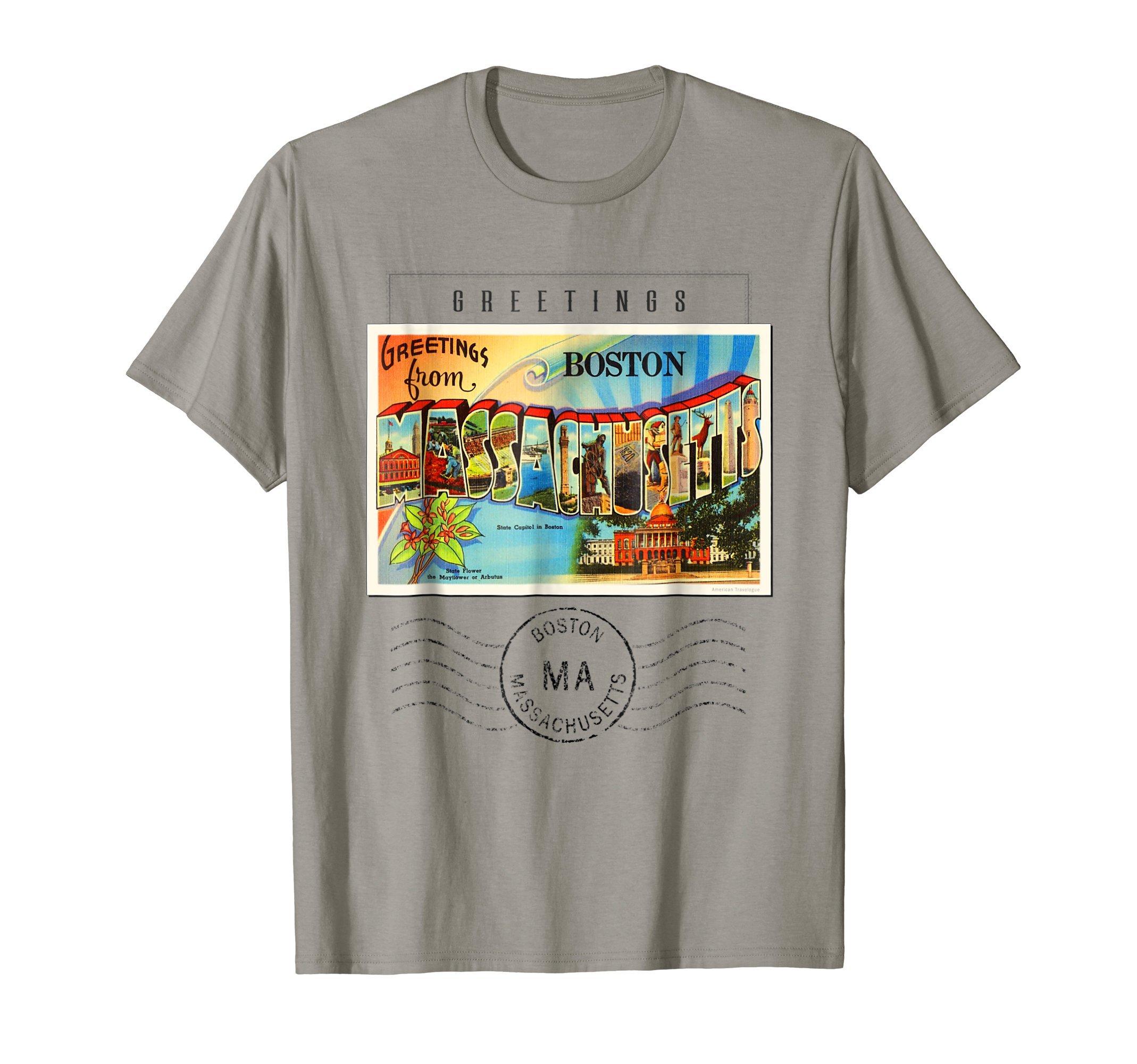 Boston Postcard T Shirt 2 Massachusetts MA Travel Souvenir
