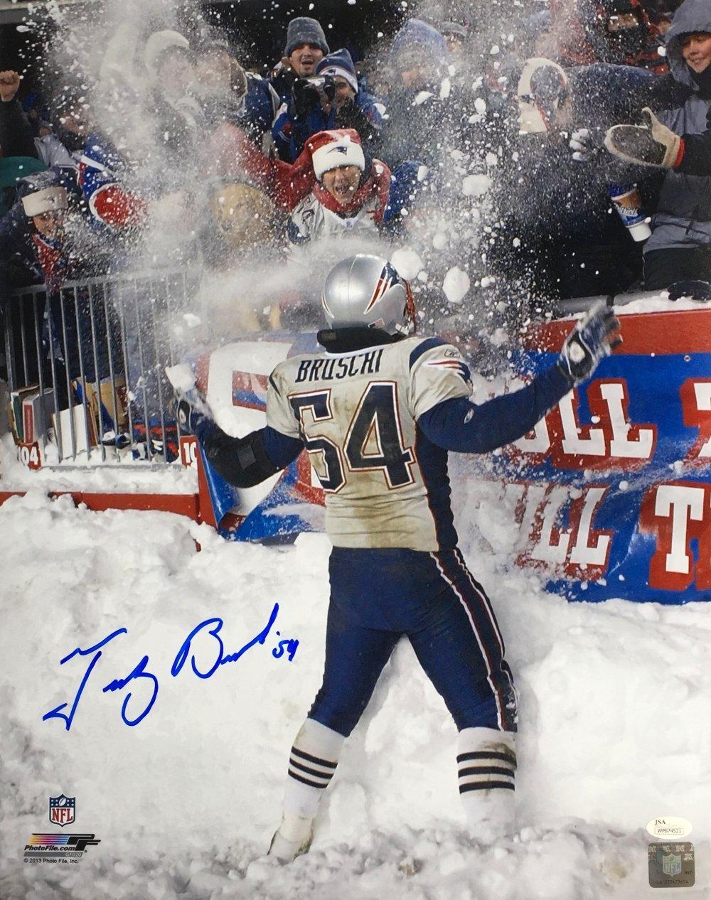 Tedy Bruschi Signed 16x20 New England Patriots Snow Photo JSA ITP