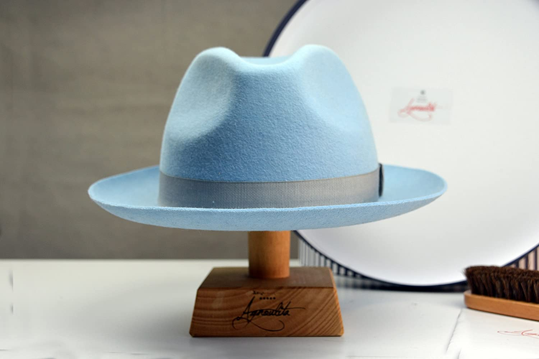 The Club - Light Blue Rabbit Fur Felt Fedora Hat - Medium Brim - Men Women c735591b63d0