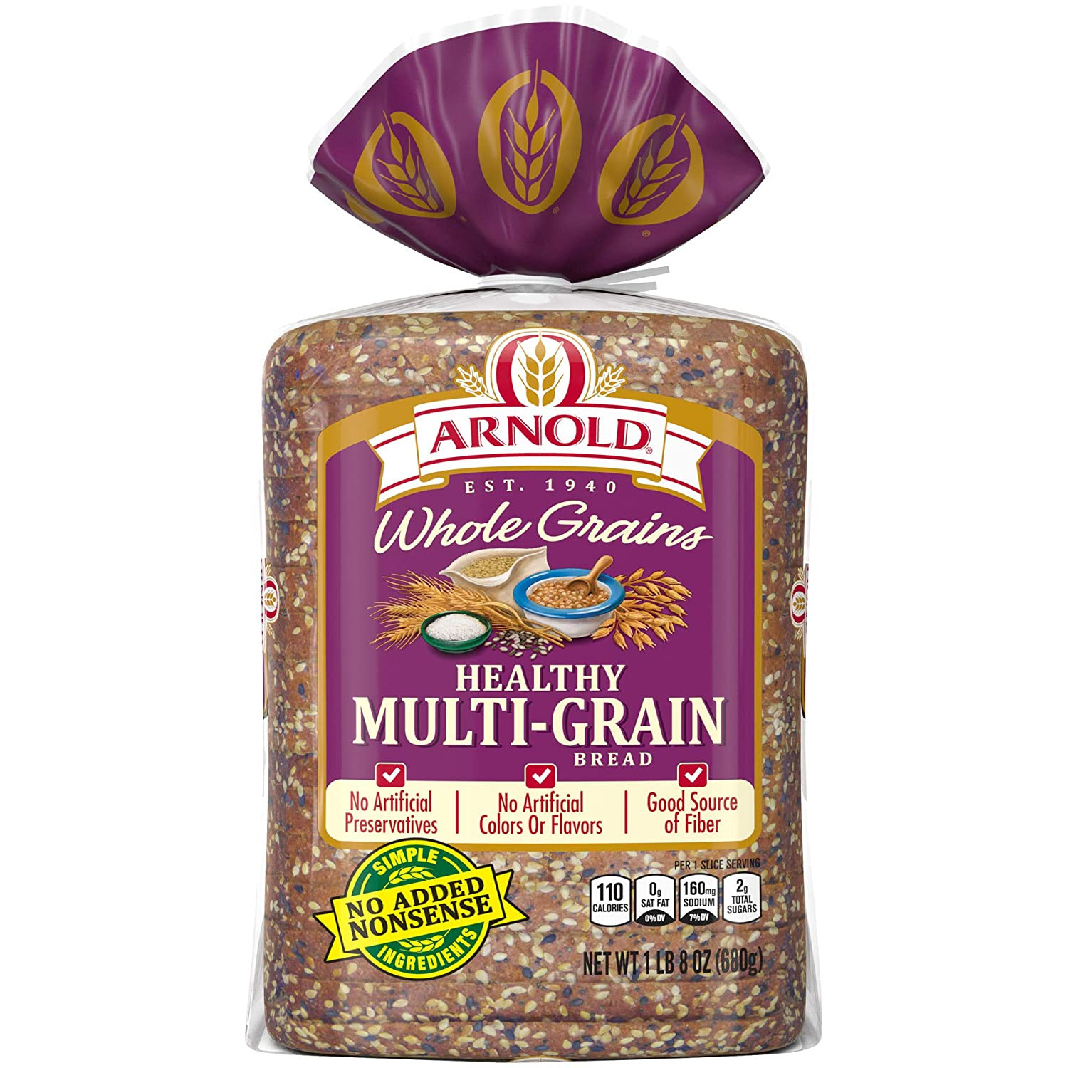 Brownberry Whole Grains Healthy Multi-Grain Bread, Baked with Simple Ingredients, 24 oz