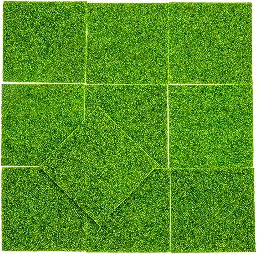 10 piezas de césped artificial mini césped moderno DIY césped de hadas jardín casa de muñecas césped, jardín de césped sintético para jardín paisaje balcón oficina decoración del hogar (15 cmX15 cm):