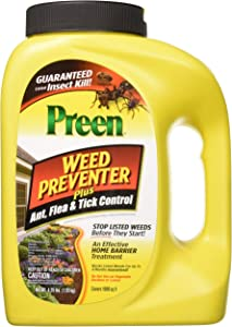 Preen 2464189 Weed Preventer Plus Ant, Flea, & Tick Control - 4.25 lb. - Covers 1,000 sq. ft.