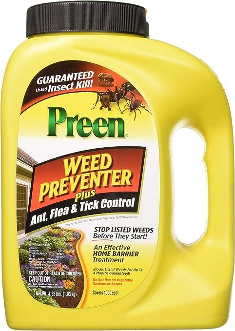 Amazon Com Preen 2464189 Weed Preventer Plus Ant Flea Tick Control 4 25 Lb Covers 1 000 Sq Ft Garden Outdoor