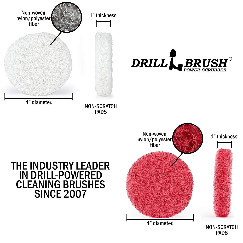 Drillbrush Kit para el ba/ño Limpieza poder depurador Scumbusting Scrub Pad almohadillas de 4 pulgadas de di/ámetro rojo blanco