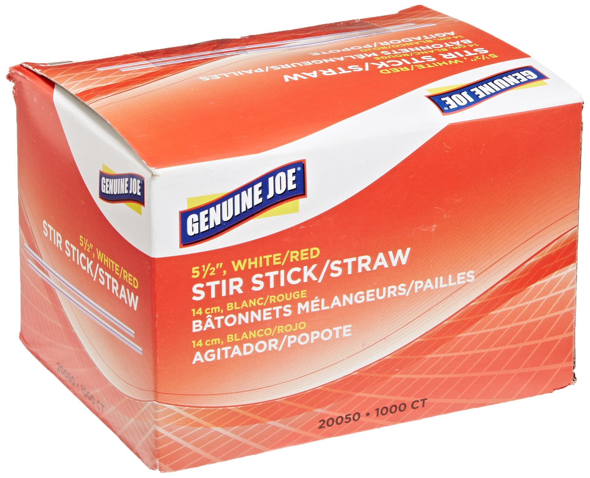 Genuine Joe GJO20050CT Plastic Stir Stick, 5-1/2'' Length, White/Red (40 Boxes of 1,000 Units)