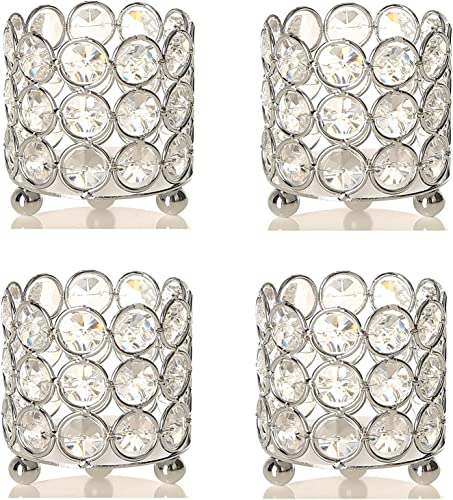 Set of 24 Pcs Wholesale Silver Crystal Bling Tealight Votive Candle Holders Wedding Event Table Centerpieces Decoration Bulk Lot