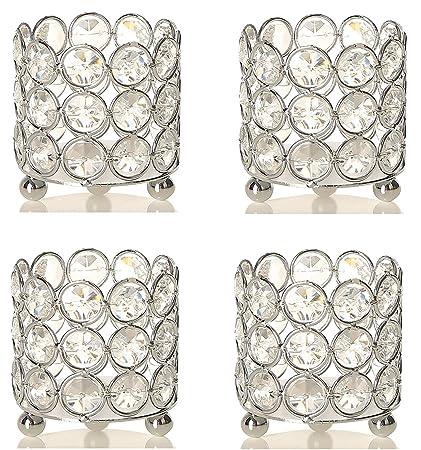 Simcs Handicrafts Set Of 48 Pcs Wholesale Crystal Bling Tealight Votive Candle Holders Wedding Event Table Centerpieces Bulk Lot