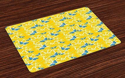 Amazoncom Ambesonne Yellow And Blue Place Mats Set Of 4