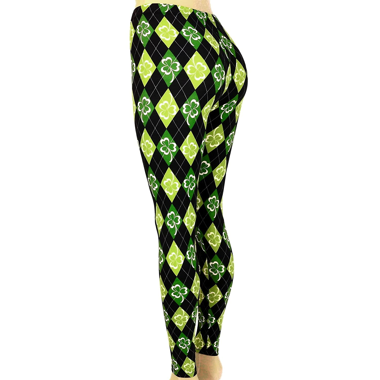 f2f381f78f860 Women's Leggings St Patrick's Argyle Shamrock Clover Print (Green Black,  Size Medium) at Amazon Women's Clothing store: