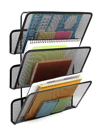 easypag 3 tier assembly mesh wall file pocket hanging file organizer holder black