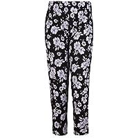 Womens Plus Size Floral Printed Ladies Elasticated Waist Long Pants Trousers
