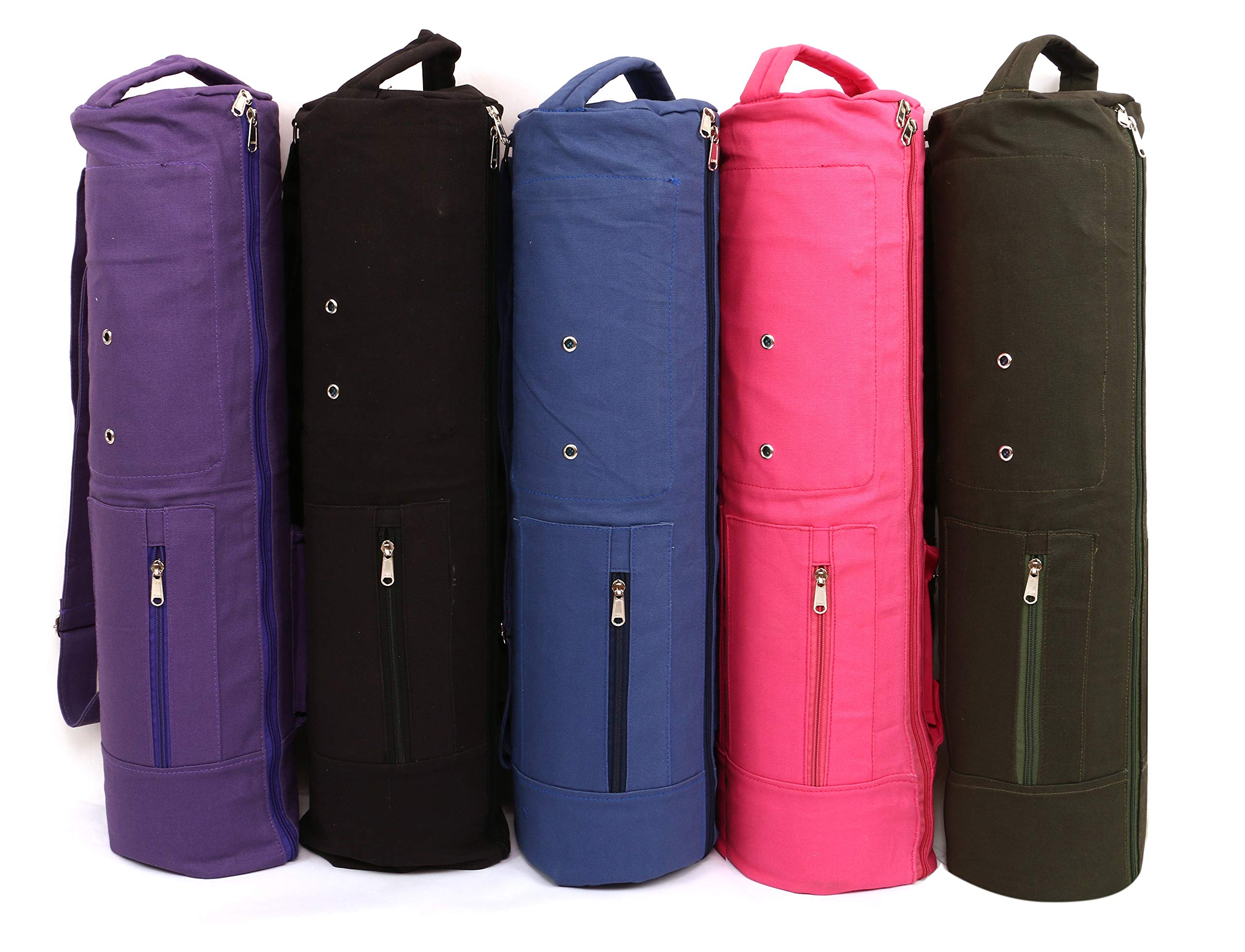 KD Yoga Mat Bag Cover Full Zip Large Size Double Storage Fits Yoga Mat, Block, Belt & More 3 Pockets(Black, Duble Storage)
