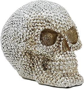 Ebros Gift Realistic Chrome Silver Bead Stone Bling Skull Figurine 6.25