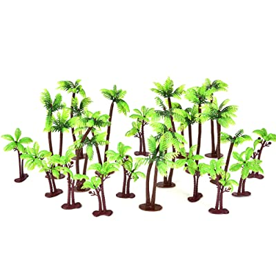 Buytra 20 Pack Palm Tree Cake Topper for Cake Decoration Green Palm Tree with Coconuts Cupcake Topper for Beach, Tropical, Jungle, Hawaiian Cake Decorating, 5.5 Inch and 3.15 Inch: Toys & Games