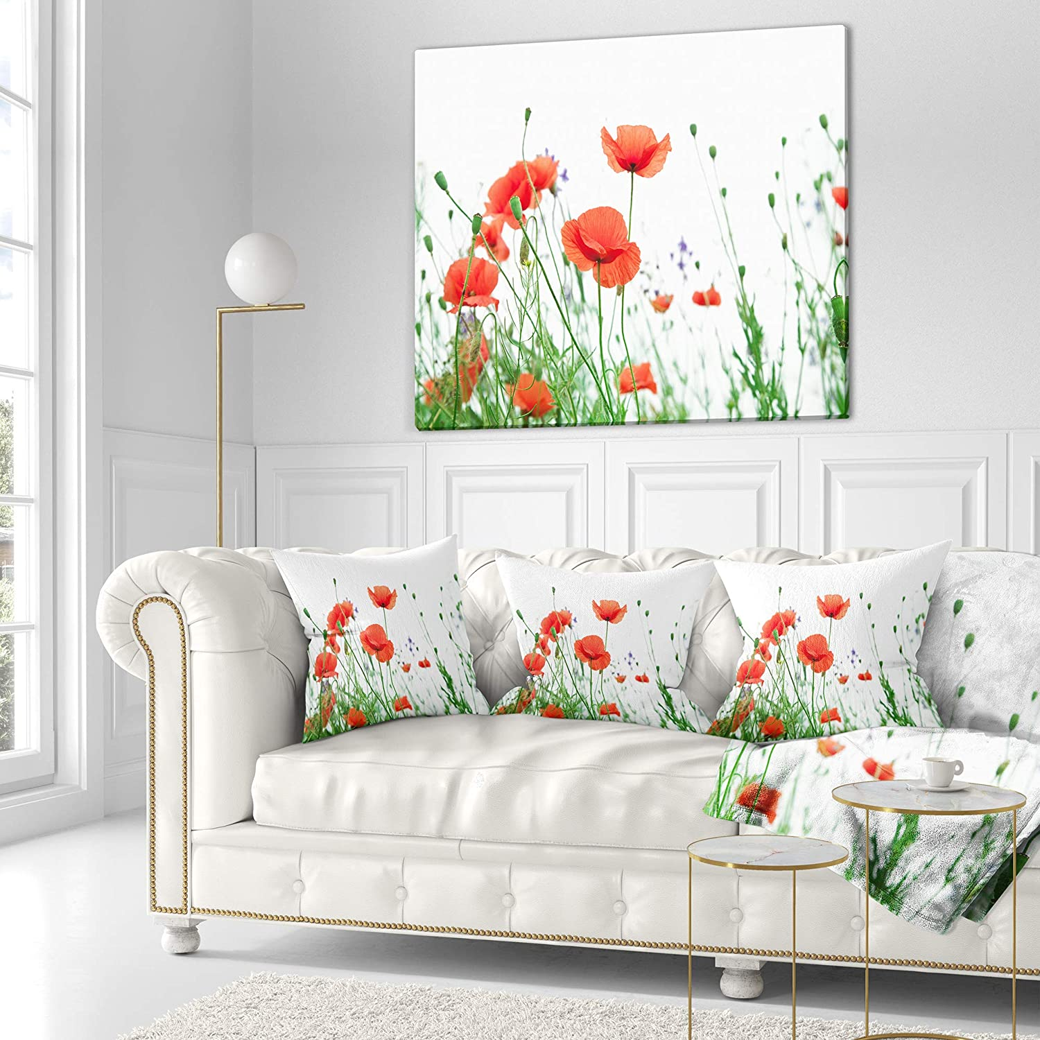 In Designart Cu13001 26 26 Poppy Flowers On White Background Floral Cushion Cover For Living Room Sofa Throw Pillow 26 In X 26 In