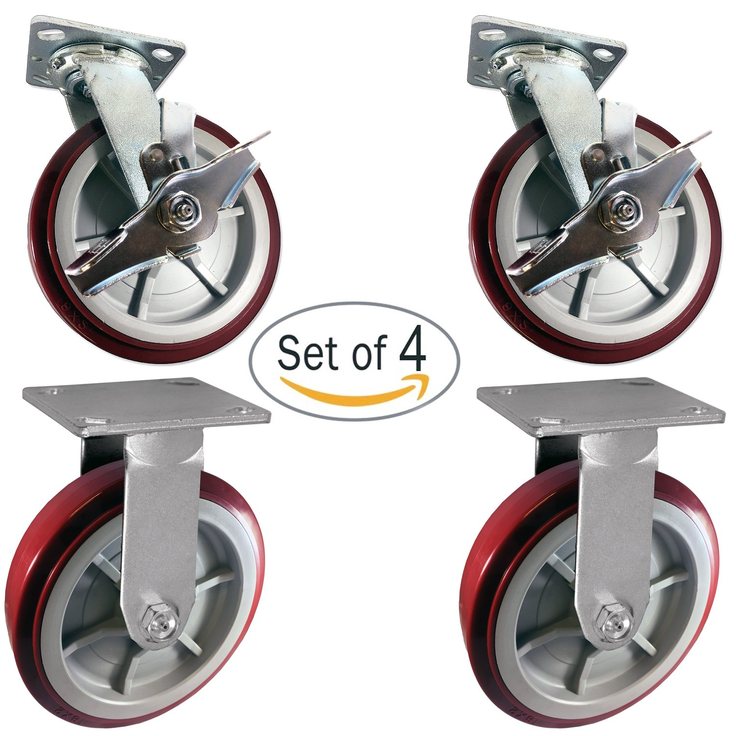 CasterHQ - Heavy Duty Polyurethane 2 Swivel Casters with Brake and 2 Rigid Fixed Casters, 8'' x 2'' Size (Pack of 4) - Tool Box by CasterHQ