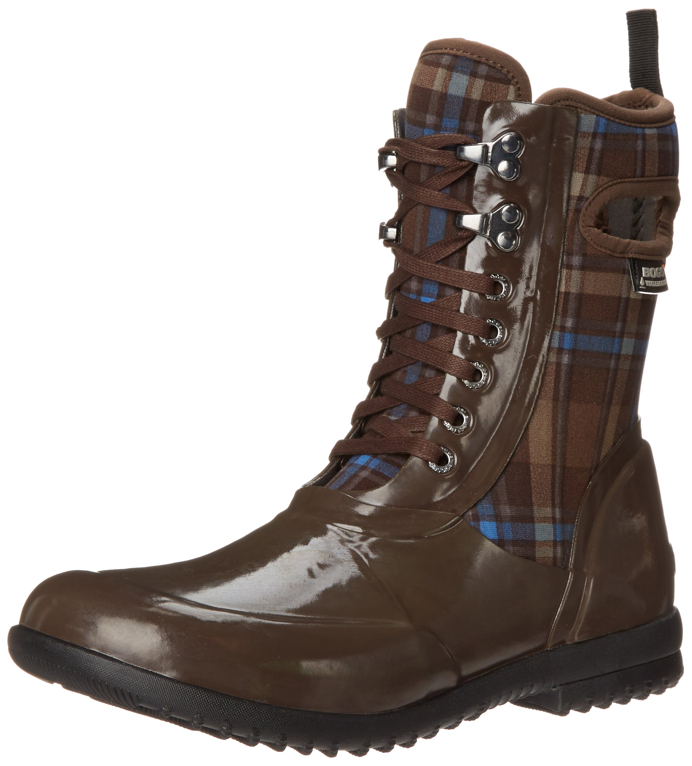Bogs Women's Sidney Lace Plaid All Weather Rain Boot, Brown/Multi,8 M US by Bogs