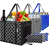 Washable Reusable Grocery Bags Heavy Duty Shopping Bags with Zip Coin Purse,Collapsible Shopping Box Bags,Reinforced…