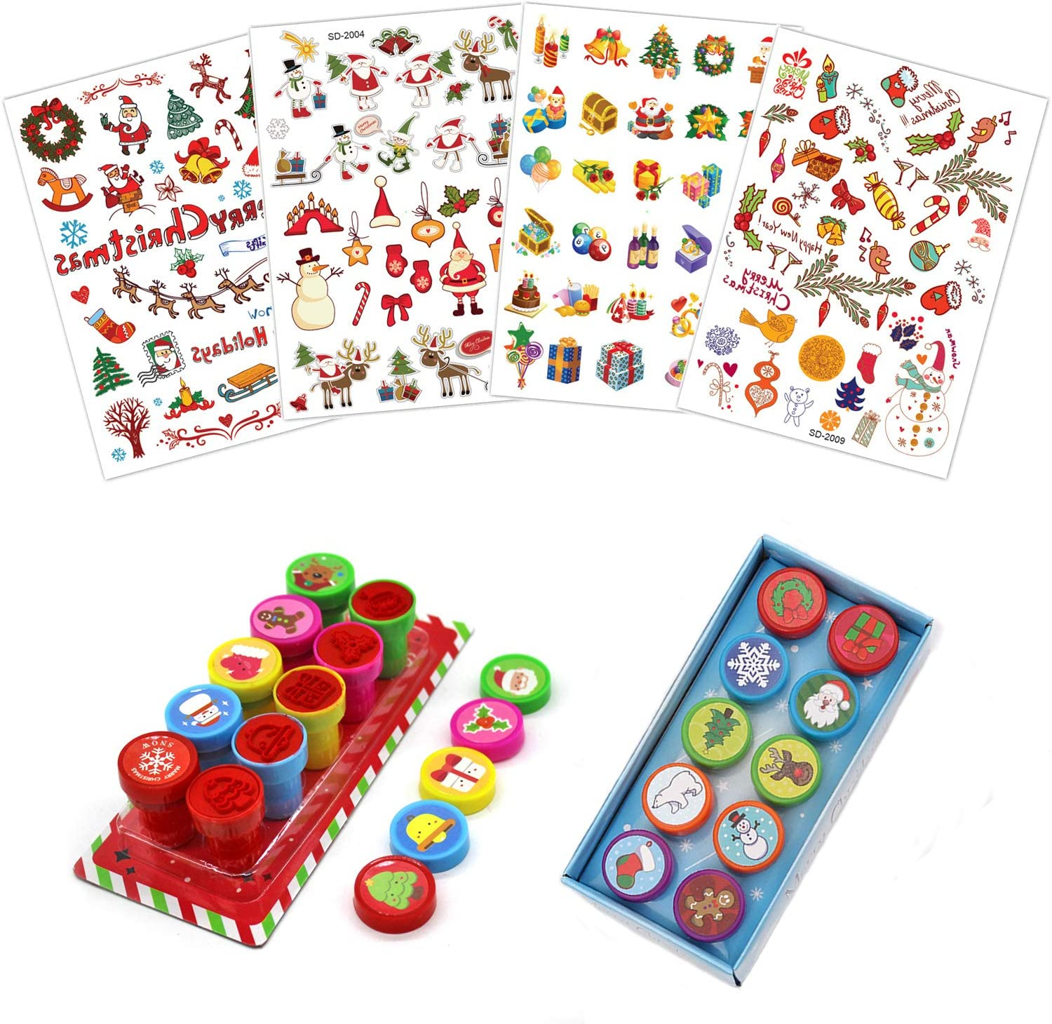 Chnaivy 20 Pieces Christmas Assorted Plastic Stamps Self-Ink Stampers and 4 Sheets Xmas Temporary Tattoos Stickers Stocking Stuffers for Kids New Year Gift Party Favors