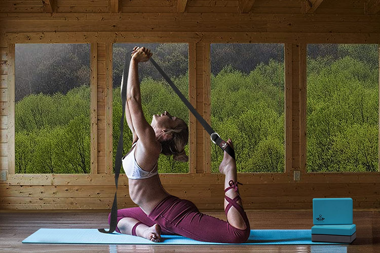 Heathyoga Bloque de Yoga (2 Unidades) y Juego de Correas de Yoga, Bloque de Espuma EVA de Alta Densidad para apoyar y Mejorar Las posturas y la ...